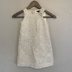 GAP White and Silver Sparkly Girls Shift Dress